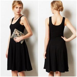 Anthropologie🖤Cabled Garonne Fitted Black Dress M